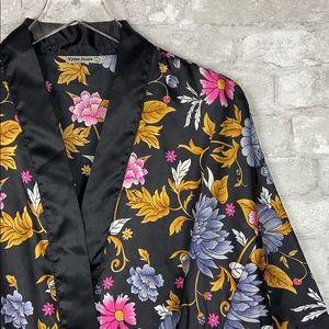 Karen Stuart Black Satin Floral Kimono Robe